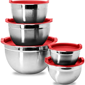Stainless Steel Mixing Bowls with Red Lids