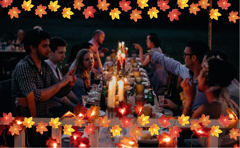 Fall Maple Leaf String Lights