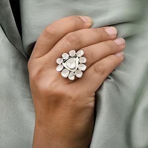 Natural Uncut polki diamond solitaire cocktail wedding ring