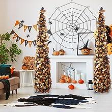 Joy-Leo 5ft Pop Up Black Halloween Christmas Tree with Gold Pumpkin Sequins