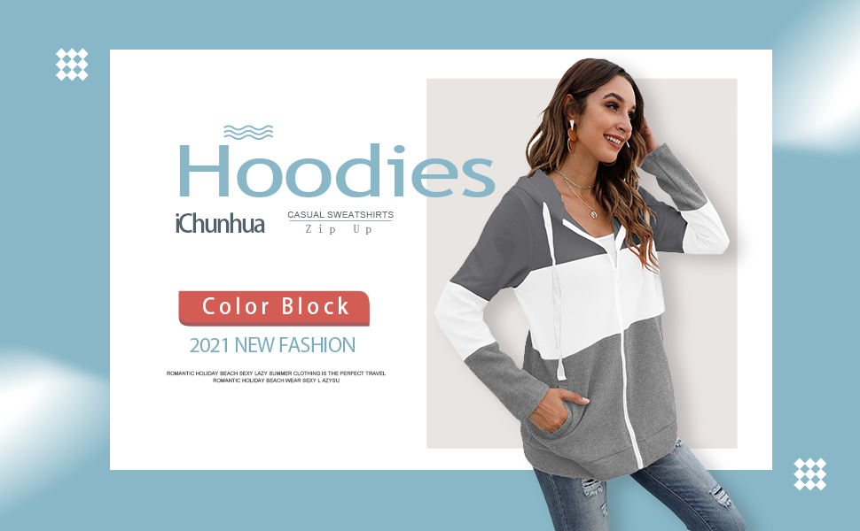 Womens Long Sleeve Zip Up Hoodie Sweatshirt Casual Loose Color Block Pullover Drawstring Tunic Tops