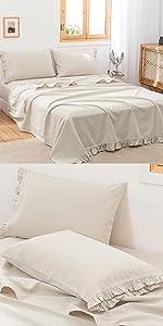 linen cotton sheet set ruffles