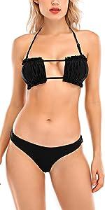 due pezzi bikini perizoma reggiseno imbottito push up costume a fascia bendare costume da bagno