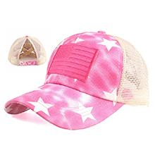 pink star mesh hat