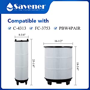"""Savener System 3 S7M120 Pool Filter Inneramp;Outer Replacement OD25-1/4""""L x 8-3/4""""D 18-3/4""""L x 16-1/2""""D"""