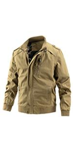 Guanzizai Menamp;39;s Casual Washed Cotton Military Jacket Stand Collar Cargo Coat with Shoulder Straps