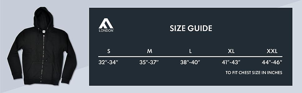 Slim Fit Jogger size chart