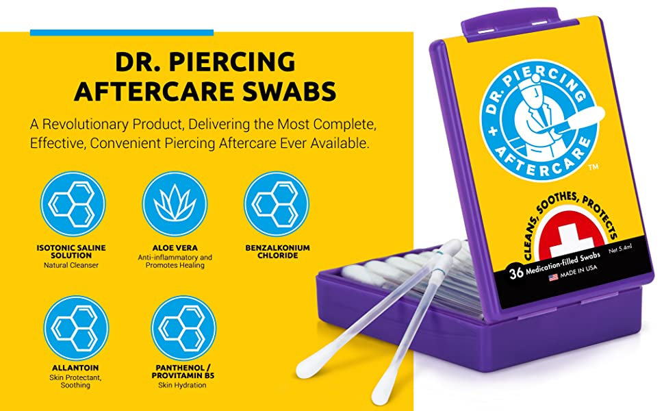 Dr. Piercing Aftercare Swabs to heal piercings with aloe vera allantoin and provitamin B5