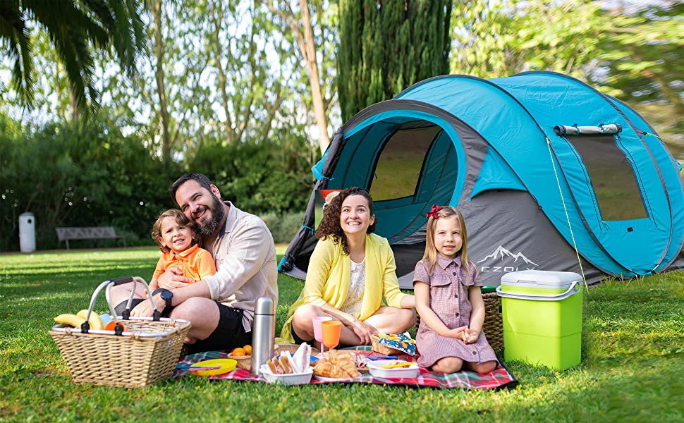 EZOLY Pop Up Tent 2 Seconds Setup 4 Persons Instant Automatic Waterproof Anti-UV Family Tents