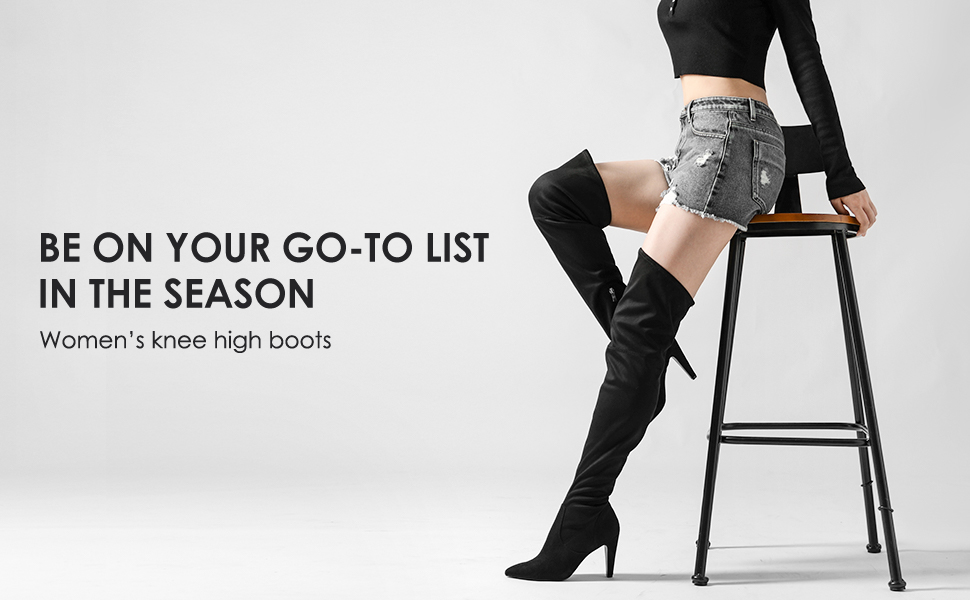 DREAM PAIRS Women's Thigh High Boots Over The Knee Heels Long Sexy Boots