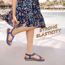 Kvinnor sandaler bohemiska strass platta sandaler