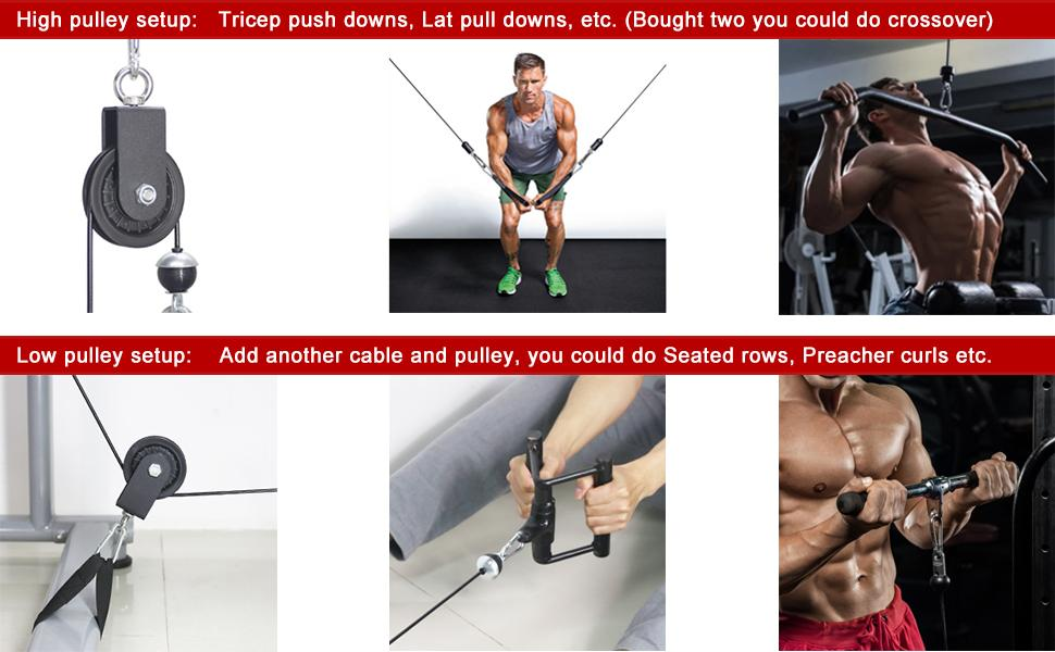 1ne Fitness Single Tricep Rope Cable Gym Attachment Push Pull Down Extension End Rope Bar