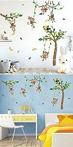 monkey tree wall decals jungle animals wall sticker