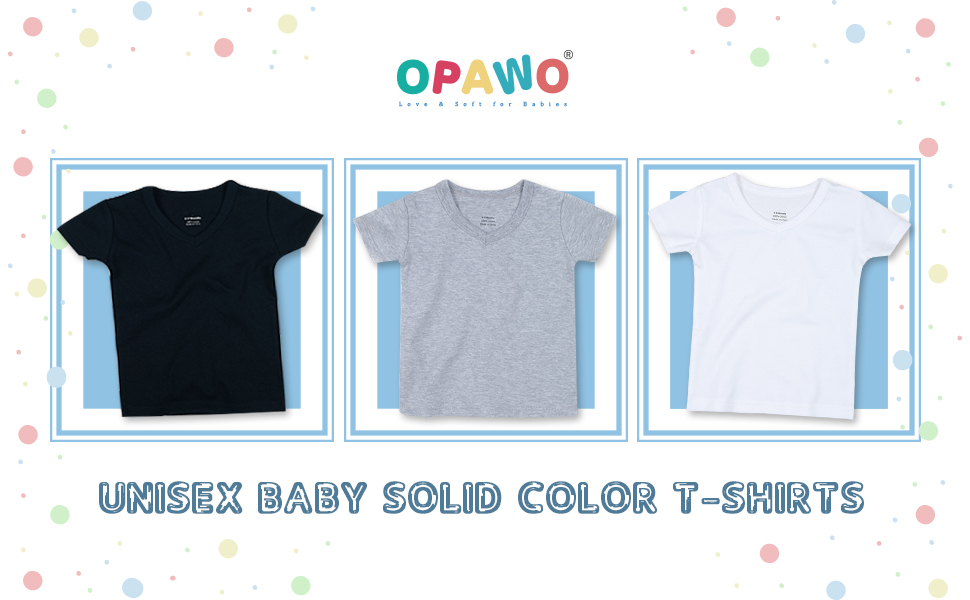 OPAWO Unisex Baby Solid Color T-Shirt