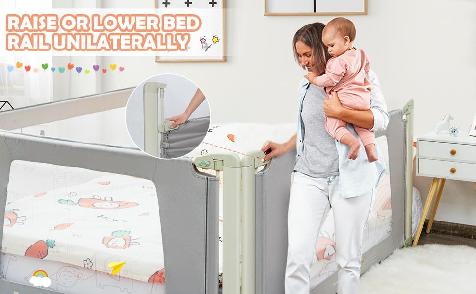 height adjustable and foldable bed rail