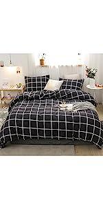 Black Grid Bedding Set
