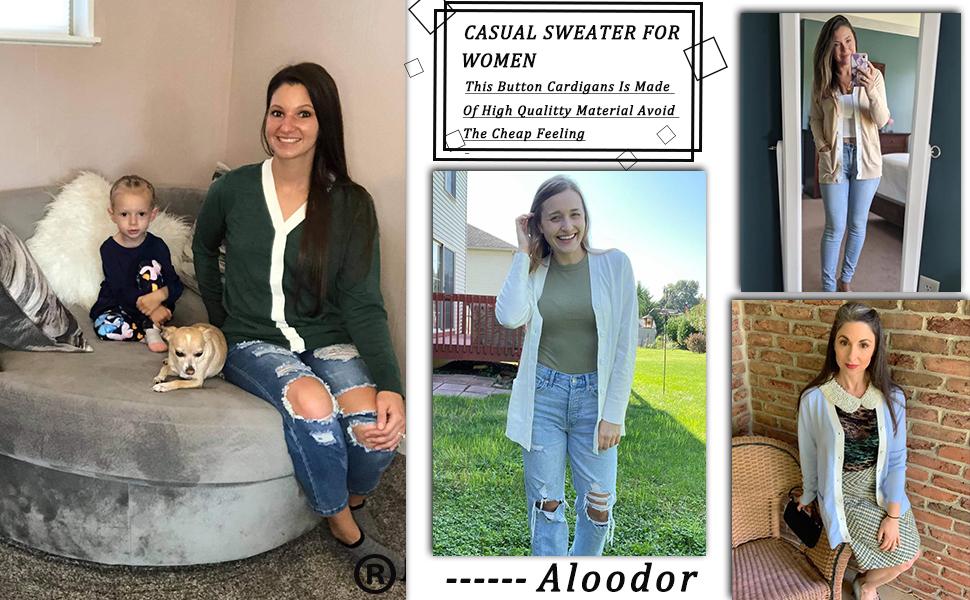 Aloodor Sweater for Women Lightweight Cardigan