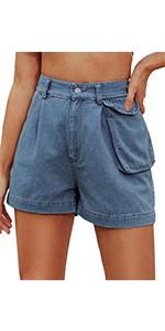 Kate Kasin Women Vintage Denim Shorts High Waisted A Line Jeans Short with Pocket