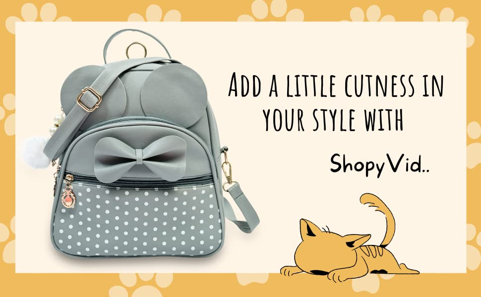 Mini Backpack Girls Stylish Cute Moca Small Daypack Polka Dot Student Shoulder Kids Kitty Leather