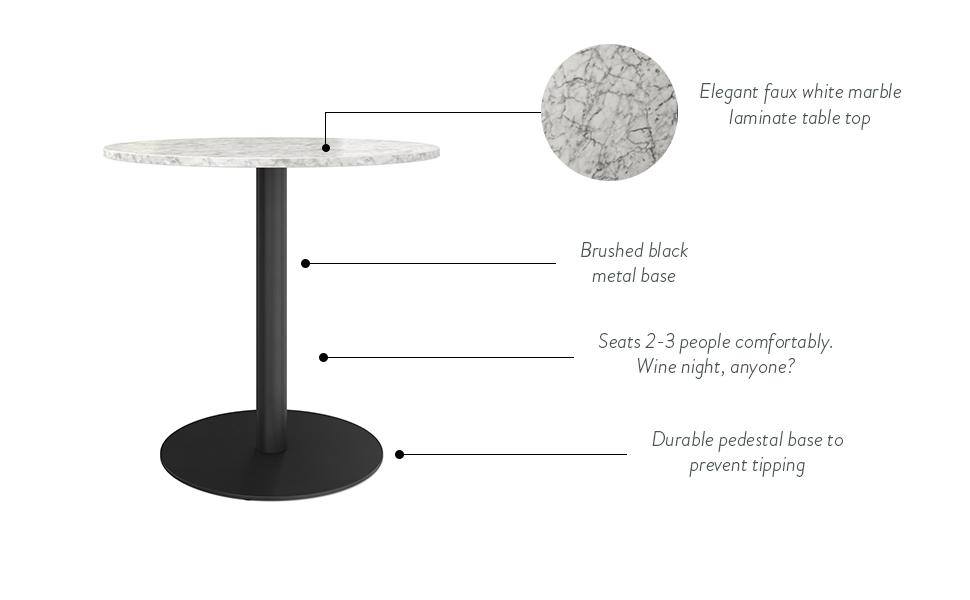 small dining table, bistro table, marble dining table, marble round table, pub table set