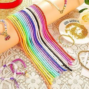 Braziliaanse armband, pastelparels, Heishi-parels, Heishi-parels, gouden parels, platte parels, parelset