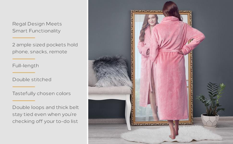 Women wearing pink color fleece robe in luxury bathroom
