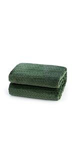 Green flannel fleece blanket