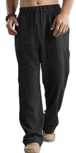 Men lightweight linen pants full length