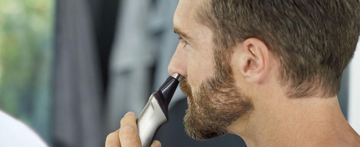 Näshårstrimmer tar försiktigt bort oönskade näs- och öronhår