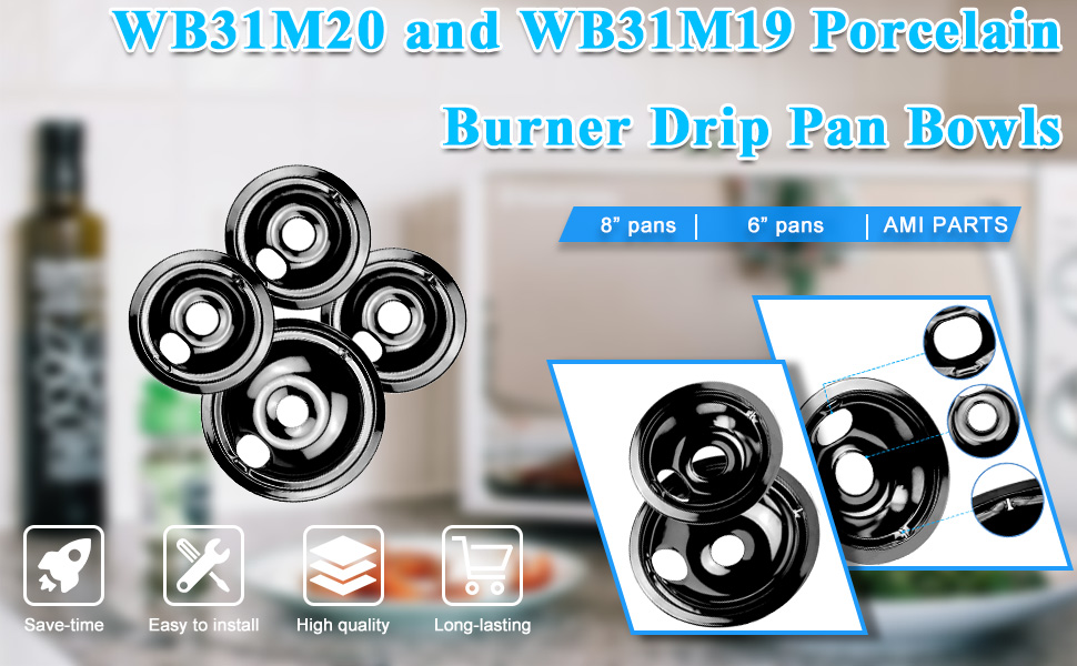 WB31M20 and WB31M19 Porcelain Burner Drip Pan Bowls Replacement