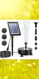 solar fountain with lights