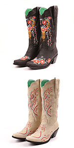 Women Embroidered Snip Toe Cowgirl Boots