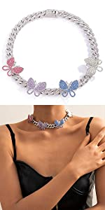 Big Colorful Butterfly Cuban Choker Necklace
