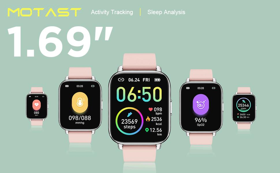 """1.69"""" smart bracelet womens watches fitness trackers for women watch women fit watches for women"""