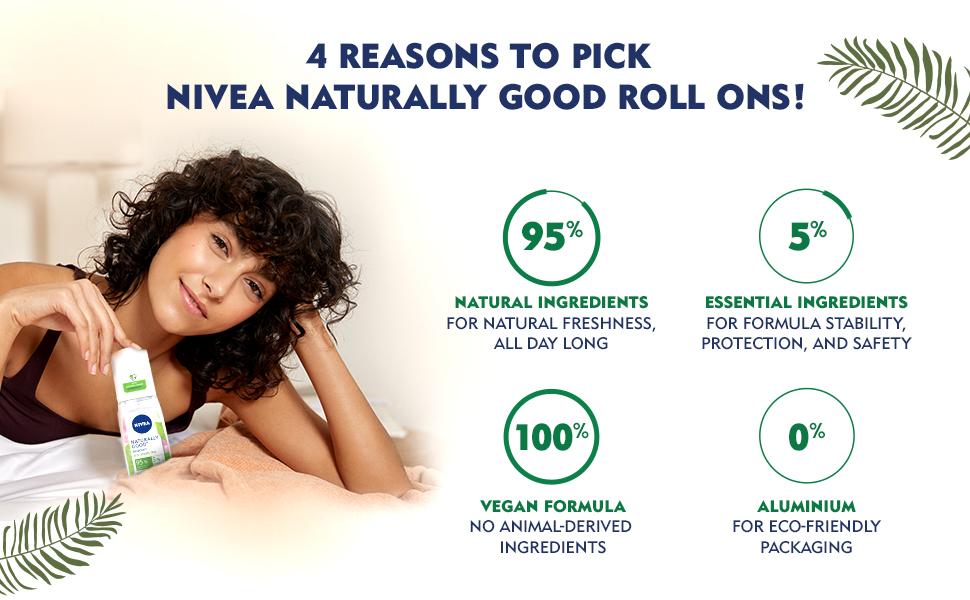 NIVEA,Women,Deodorant,Natural,Fresh,Green Tea,Fragrance