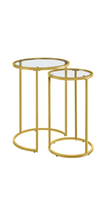 Round Nesting End Table Set with Metal Frame and Glass Top for Small Space