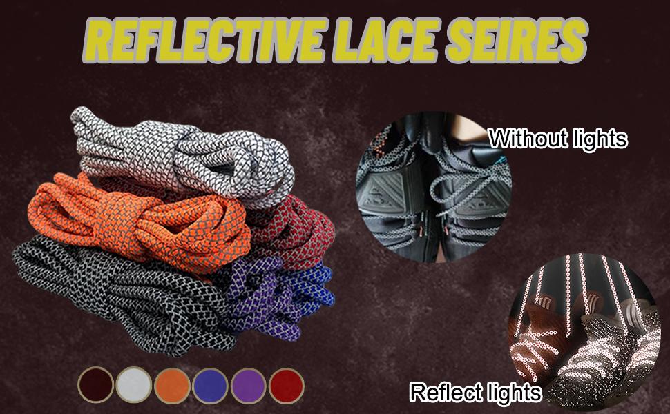 Sport Round Shoe Laces Reflective [5 Different Lengths 6 Colors]