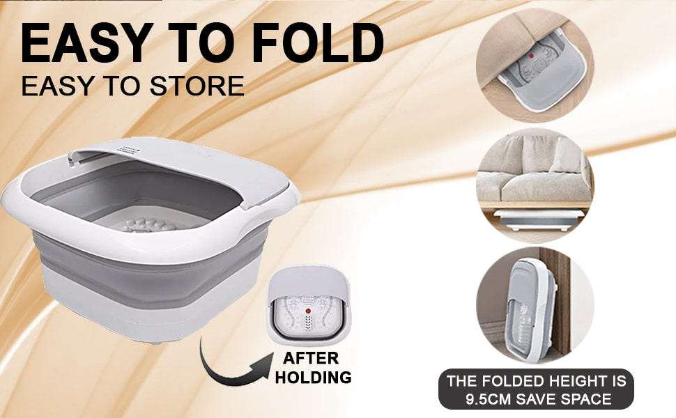 Walkent Foot Spa and Electric Bubble Massager - Foldable Pedicure Tub to relax and remove fatigue