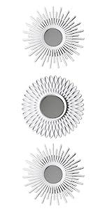 Pack med 3 vita plast speglar med öglebult att hänga den på väggen