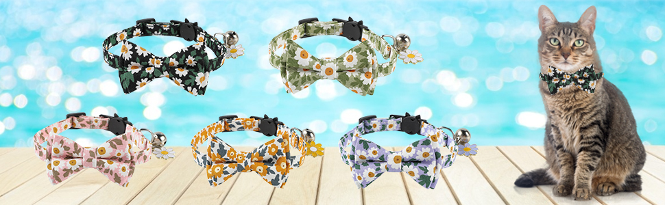 JOYPAWS Breakaway Cat Collar Bow Tie Bell Kitty Adjustable Safety Collars for Cats or Small Dogs