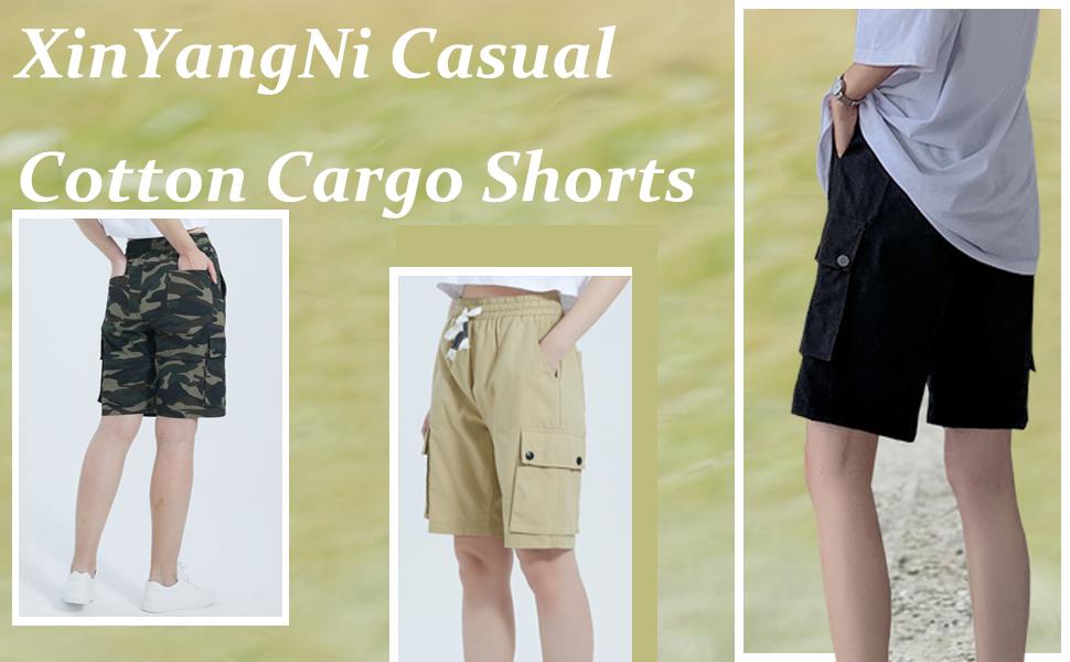women elastic waist cargo shorts cotton Summer lightweight hiker beach shorts knee length Short