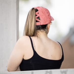 Back of Salmon colored hat