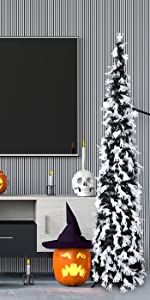Joy-Leo 5ft Pop Up Black Halloween Christmas Tree with White Ghost Sequins