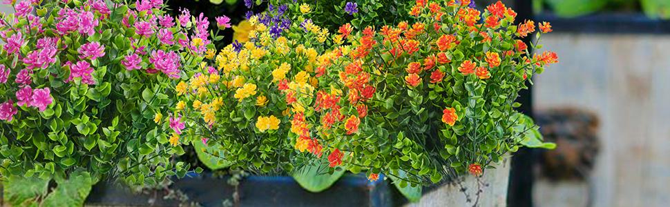 Joyhalo 8 Bundles Outdoor Artificial Flowers UV Resistant Fake Boxwood