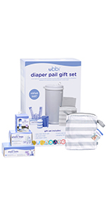 Components of the Ubbi diaper pail gift set in their individual packaging