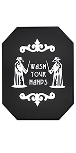 gothic bathroom wash your hands sign