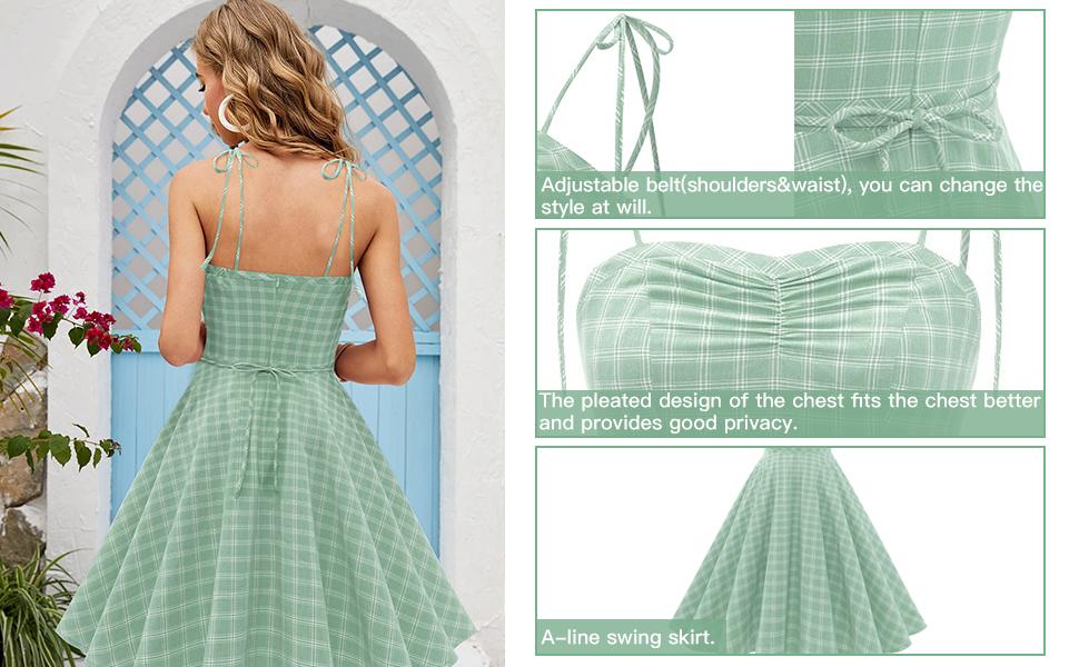 Women's 1950s Retro Plaids Cocktail Dress A-line Vintage Spaghetti Summer Dress