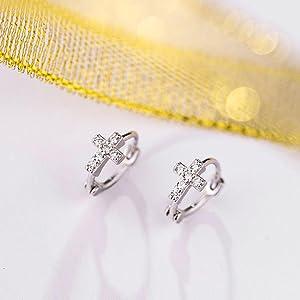 Small Cross Sterling Silver Hoop Earrings for Women Men Unisex Hypoallergenic Jewerly