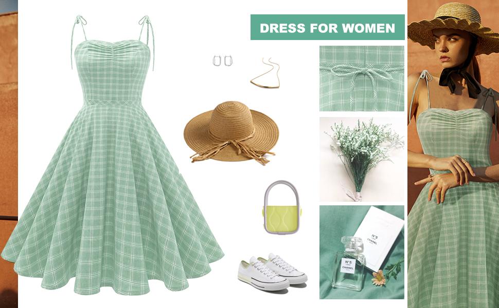 Wedtrend Women's 1950s Retro Plaids Cocktail Dress A-line Vintage Spaghetti Summer Dress