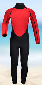 red kids wetsuit